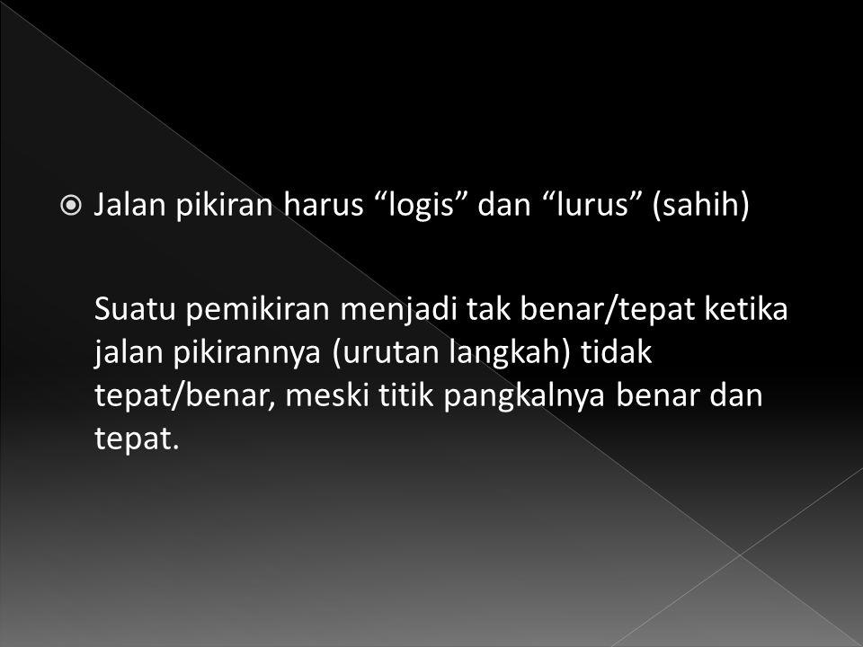 Jalan pikiran harus logis dan lurus (sahih)