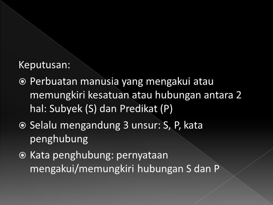 Keputusan: Perbuatan manusia yang mengakui atau memungkiri kesatuan atau hubungan antara 2 hal: Subyek (S) dan Predikat (P)