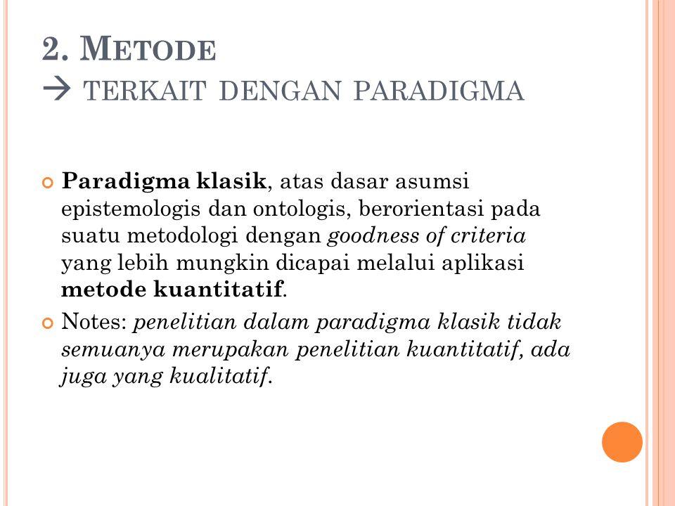 2. Metode  terkait dengan paradigma