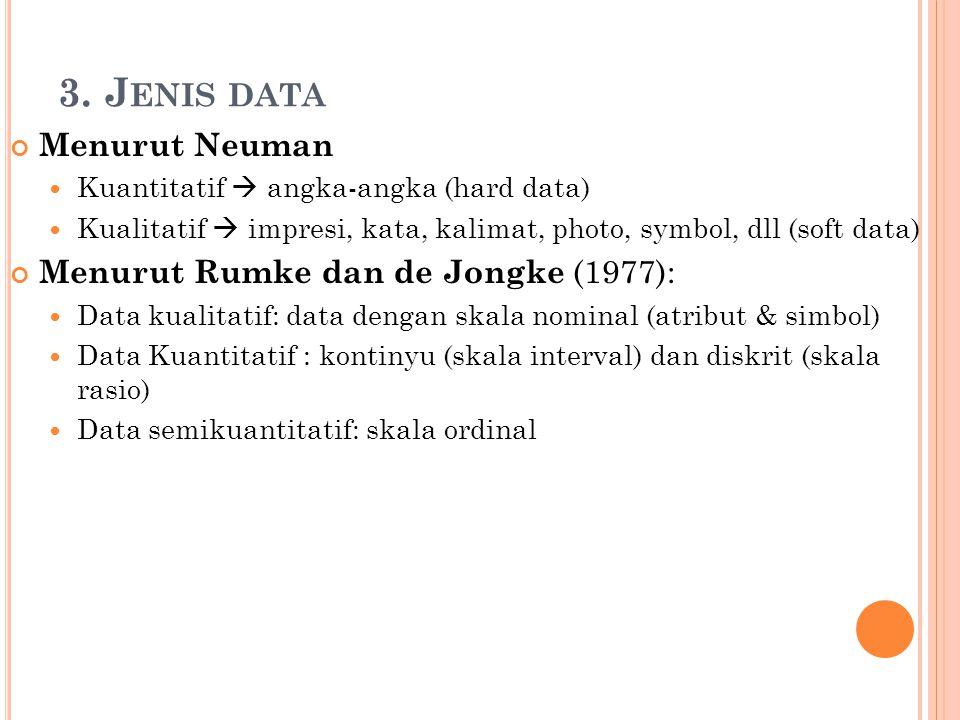 3. Jenis data Menurut Neuman Menurut Rumke dan de Jongke (1977):