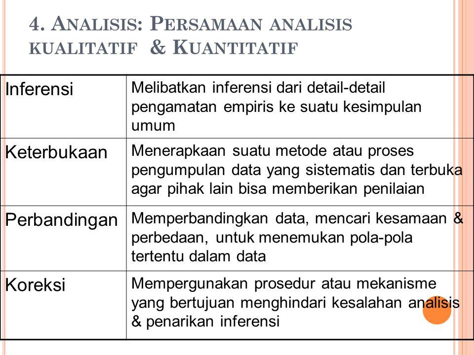 4. Analisis: Persamaan analisis kualitatif & Kuantitatif