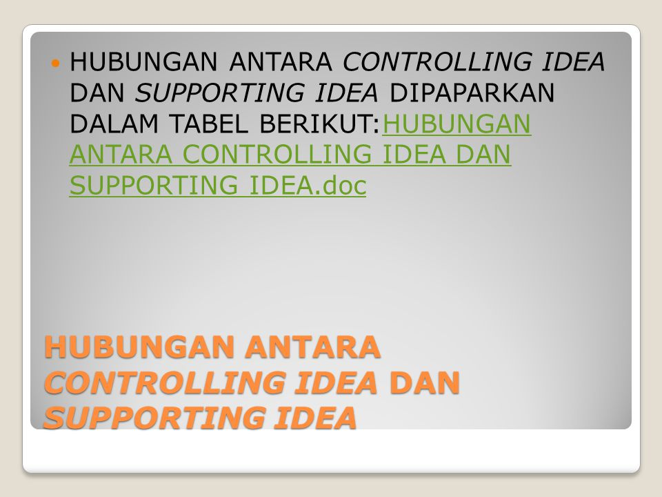 HUBUNGAN ANTARA CONTROLLING IDEA DAN SUPPORTING IDEA