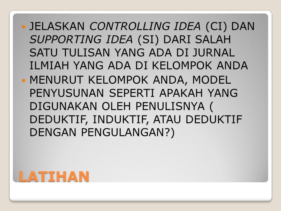 JELASKAN CONTROLLING IDEA (CI) DAN SUPPORTING IDEA (SI) DARI SALAH SATU TULISAN YANG ADA DI JURNAL ILMIAH YANG ADA DI KELOMPOK ANDA