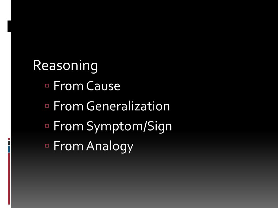 Reasoning From Cause From Generalization From Symptom/Sign