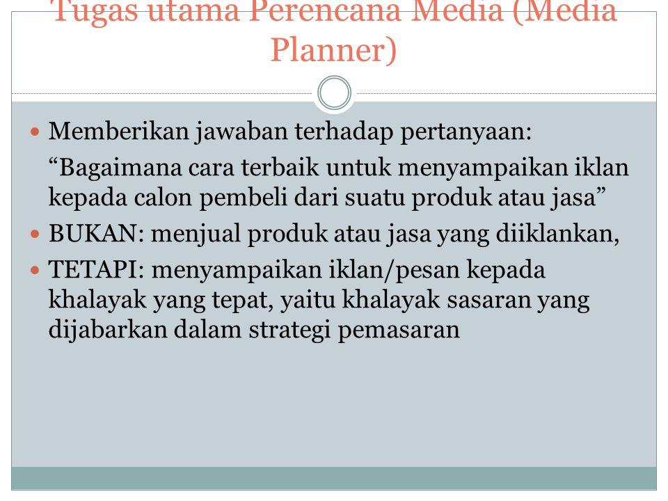 Tugas utama Perencana Media (Media Planner)