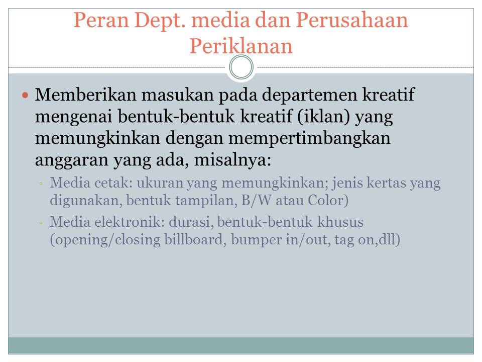 Peran Dept. media dan Perusahaan Periklanan