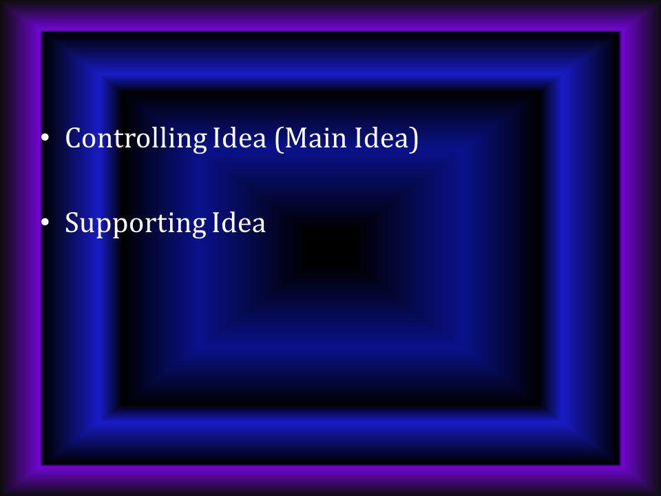 Controlling Idea (Main Idea)
