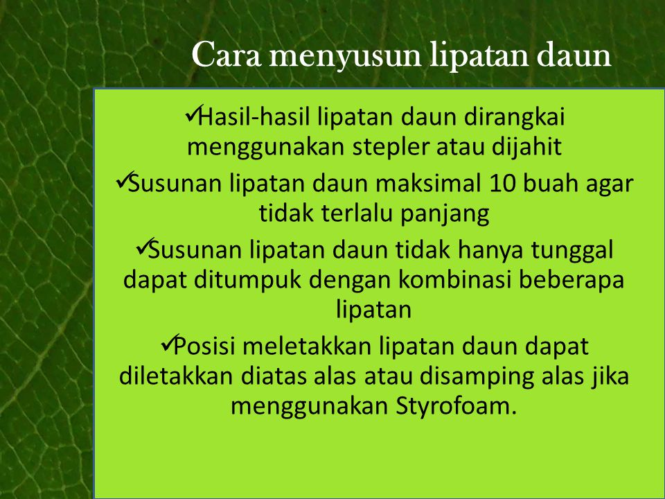 Cara menyusun lipatan daun