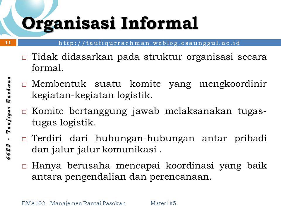 Organisasi Informal Tidak didasarkan pada struktur organisasi secara formal. Membentuk suatu komite yang mengkoordinir kegiatan-kegiatan logistik.