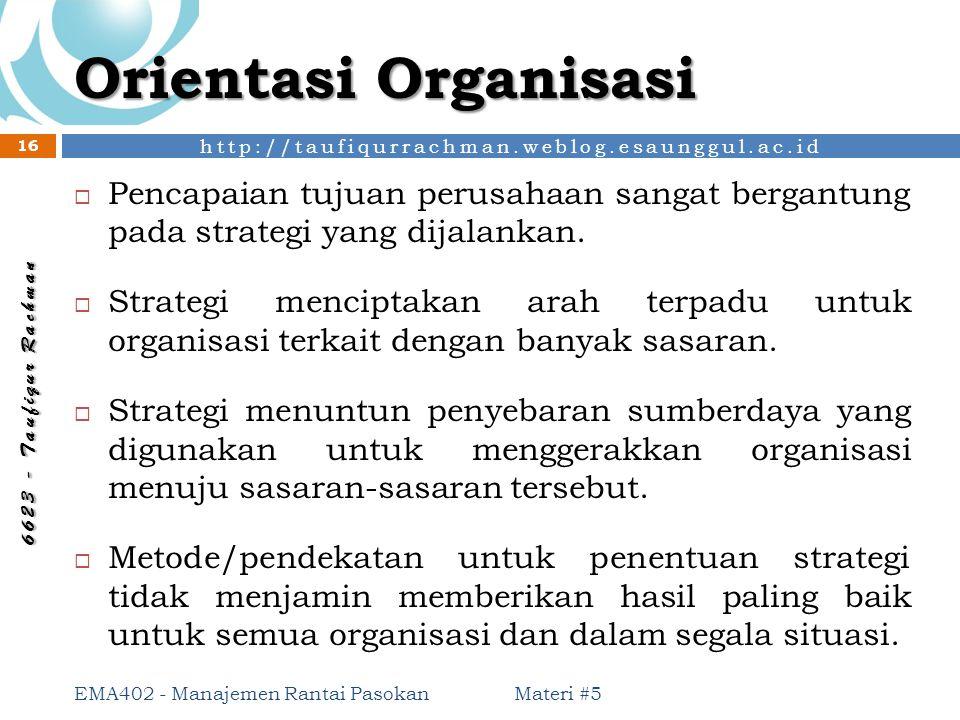 Orientasi Organisasi Pencapaian tujuan perusahaan sangat bergantung pada strategi yang dijalankan.