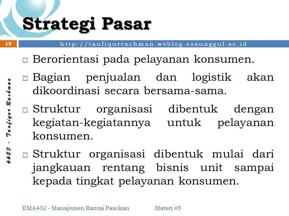 Strategi Pasar Berorientasi pada pelayanan konsumen.
