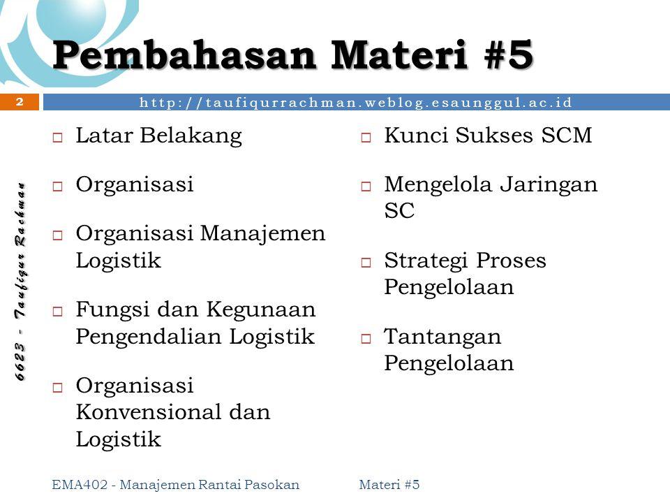 Pembahasan Materi #5 Latar Belakang Kunci Sukses SCM Organisasi