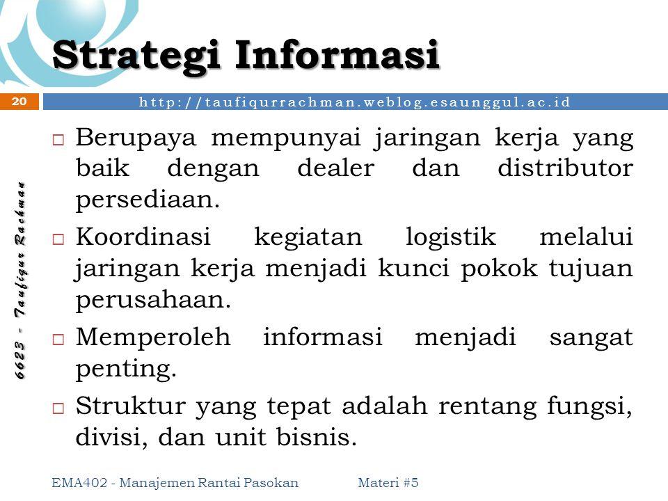 Strategi Informasi Berupaya mempunyai jaringan kerja yang baik dengan dealer dan distributor persediaan.