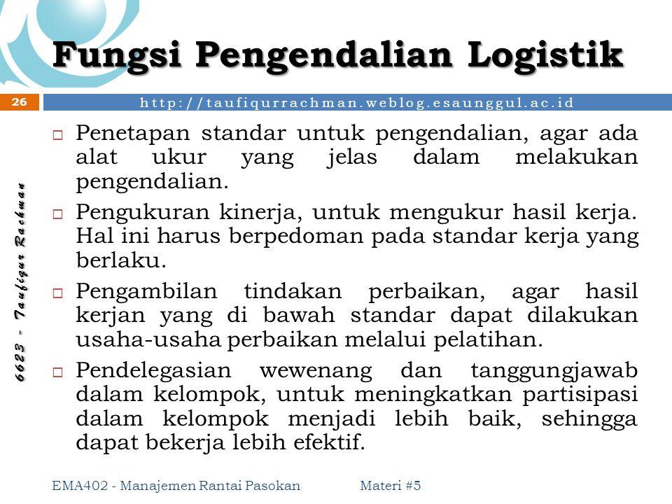 Fungsi Pengendalian Logistik