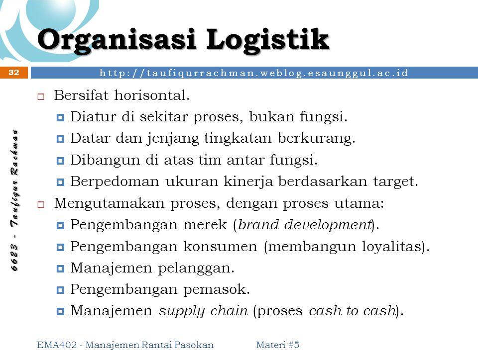 Organisasi Logistik Bersifat horisontal.