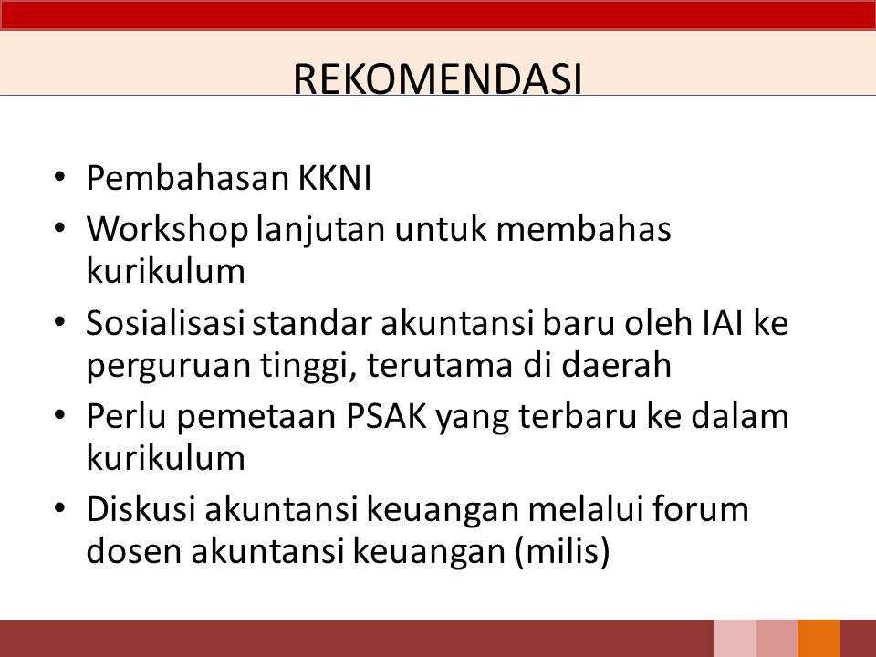 REKOMENDASI Pembahasan KKNI Workshop lanjutan untuk membahas kurikulum