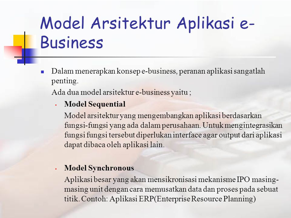 Model Arsitektur Aplikasi e-Business