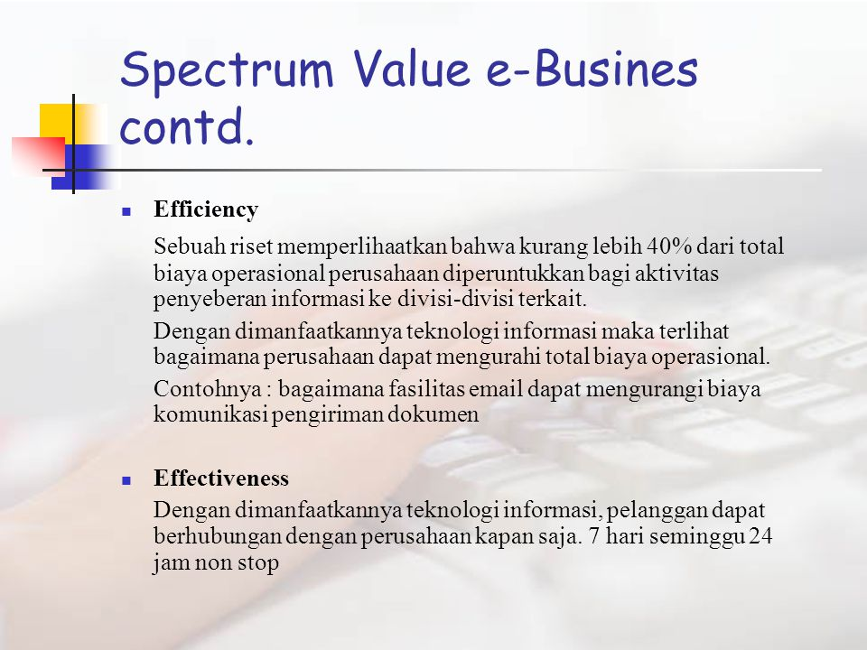 Spectrum Value e-Busines contd.