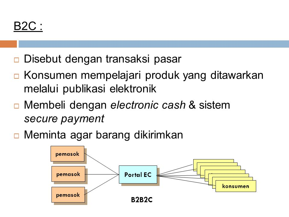 B2C : Disebut dengan transaksi pasar