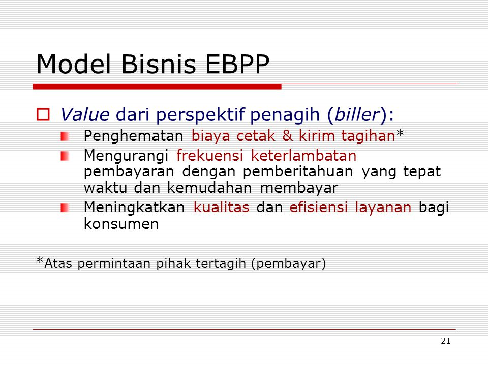 Model Bisnis EBPP Value dari perspektif penagih (biller):