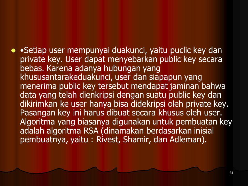 •Setiap user mempunyai duakunci, yaitu puclic key dan private key