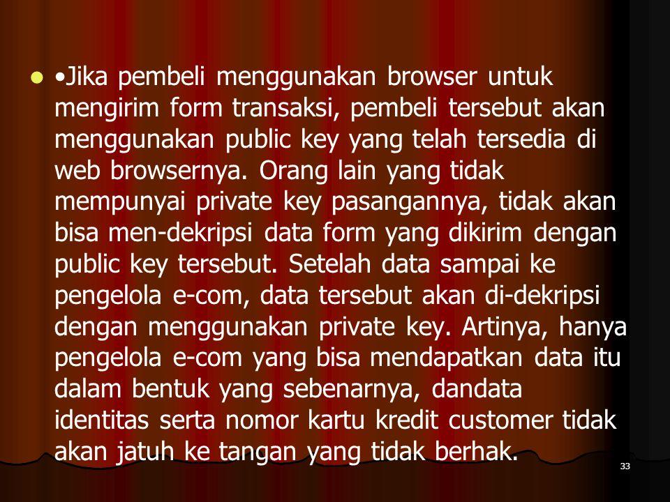 •Jika pembeli menggunakan browser untuk mengirim form transaksi, pembeli tersebut akan menggunakan public key yang telah tersedia di web browsernya.