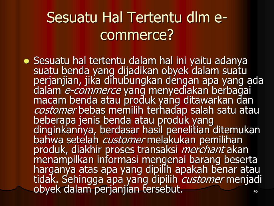 Sesuatu Hal Tertentu dlm e-commerce