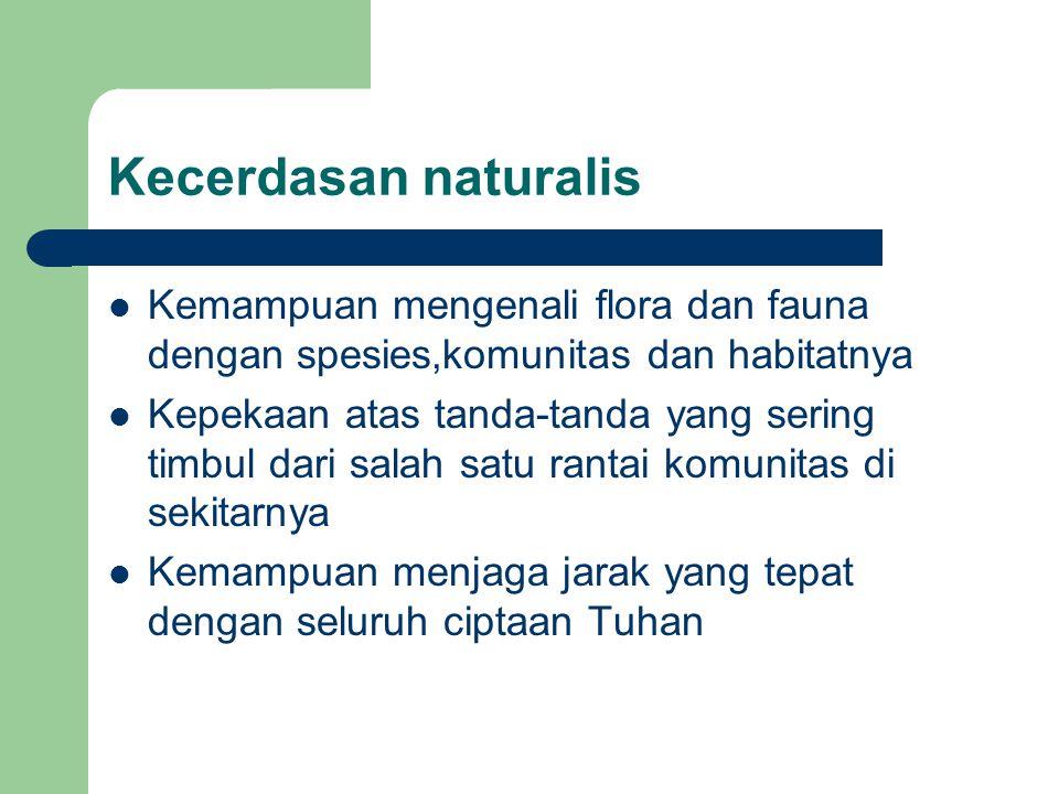 Kecerdasan naturalis Kemampuan mengenali flora dan fauna dengan spesies,komunitas dan habitatnya.