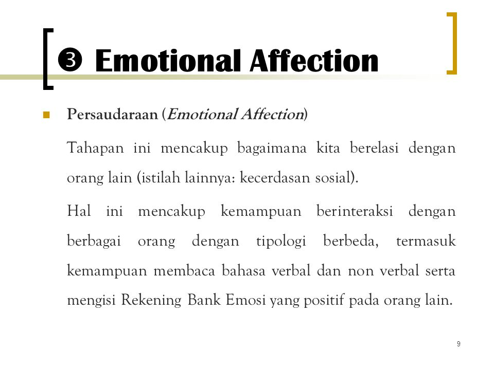  Emotional Affection Persaudaraan (Emotional Affection)