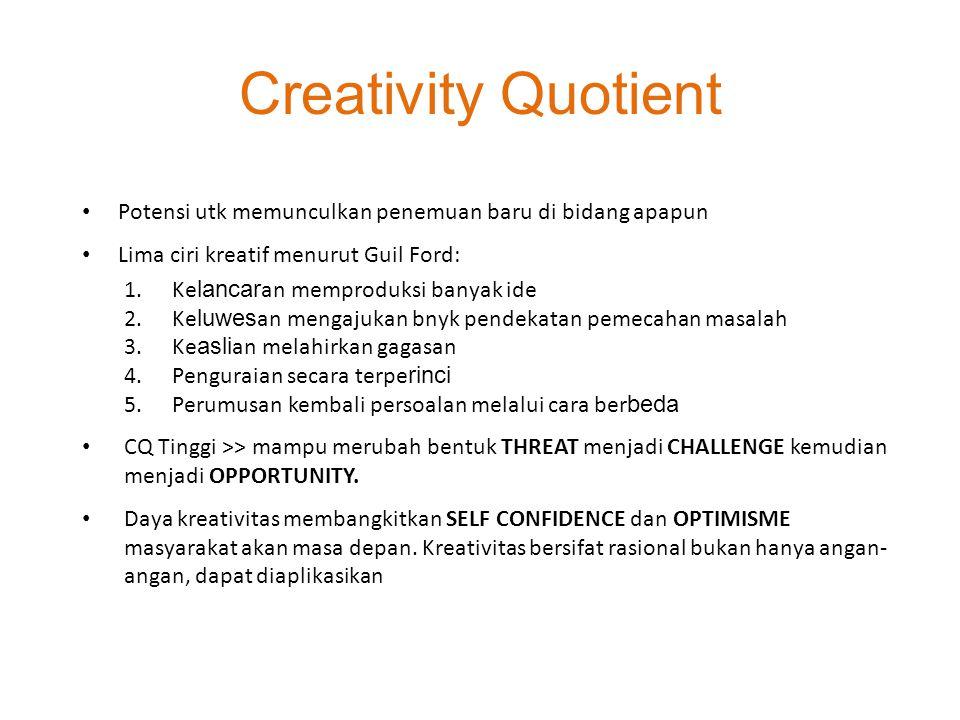 Creativity Quotient Potensi utk memunculkan penemuan baru di bidang apapun. Lima ciri kreatif menurut Guil Ford: