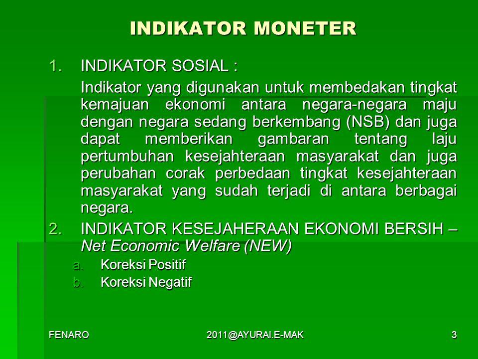 INDIKATOR MONETER INDIKATOR SOSIAL :