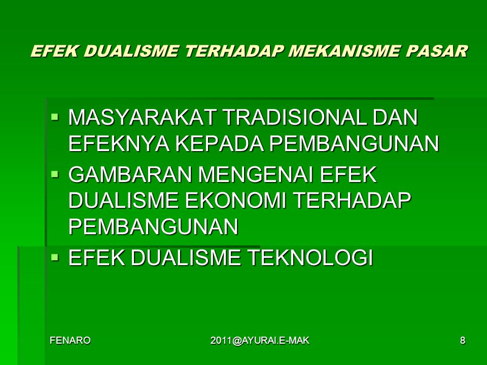 EFEK DUALISME TERHADAP MEKANISME PASAR
