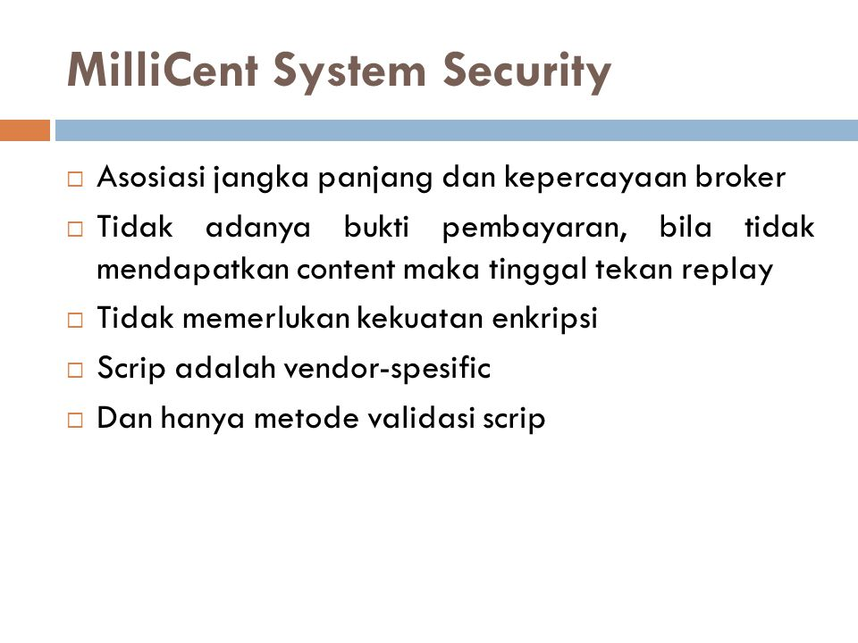 MilliCent System Security