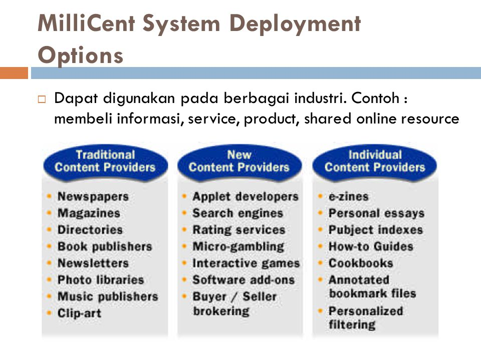 MilliCent System Deployment Options