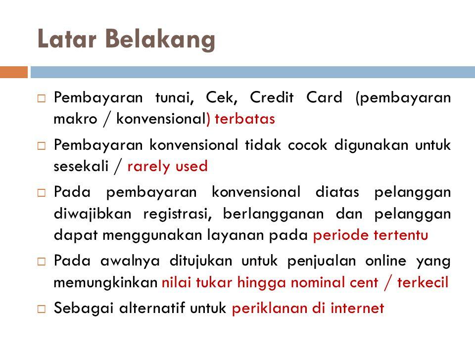 Latar Belakang Pembayaran tunai, Cek, Credit Card (pembayaran makro / konvensional) terbatas.