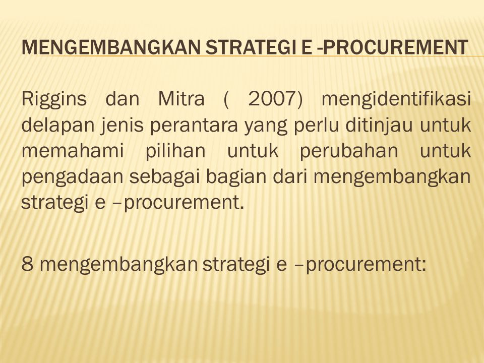 Mengembangkan strategi e -procurement