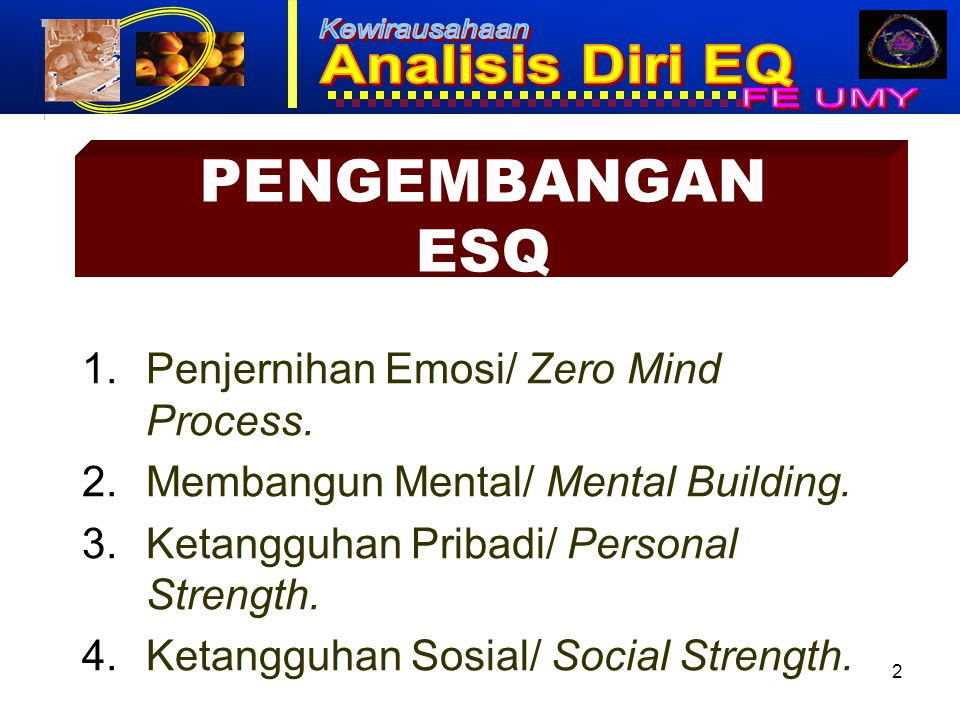 PENGEMBANGAN ESQ Penjernihan Emosi/ Zero Mind Process.
