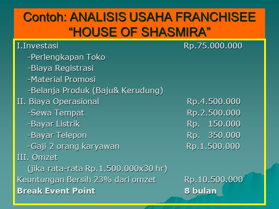 Contoh: ANALISIS USAHA FRANCHISEE HOUSE OF SHASMIRA