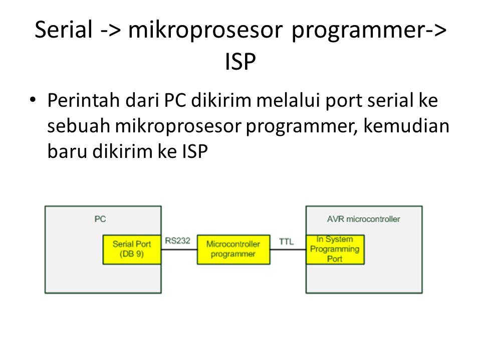 Serial -> mikroprosesor programmer-> ISP