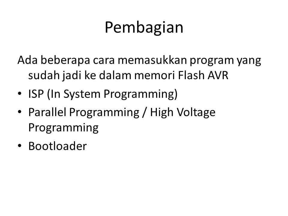 Pembagian Ada beberapa cara memasukkan program yang sudah jadi ke dalam memori Flash AVR. ISP (In System Programming)