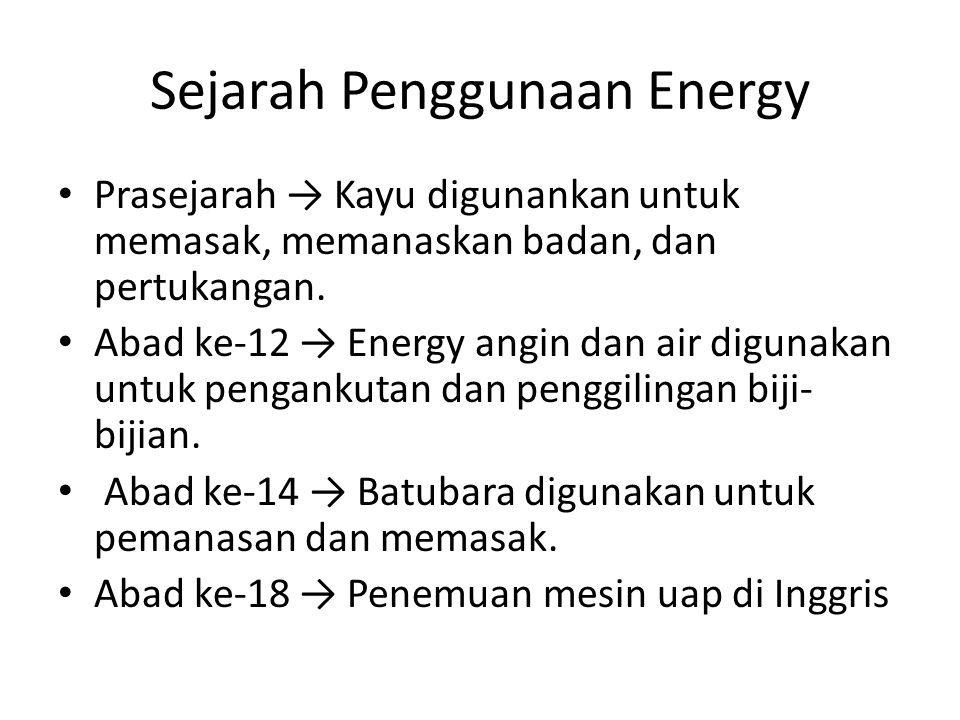 Sejarah Penggunaan Energy