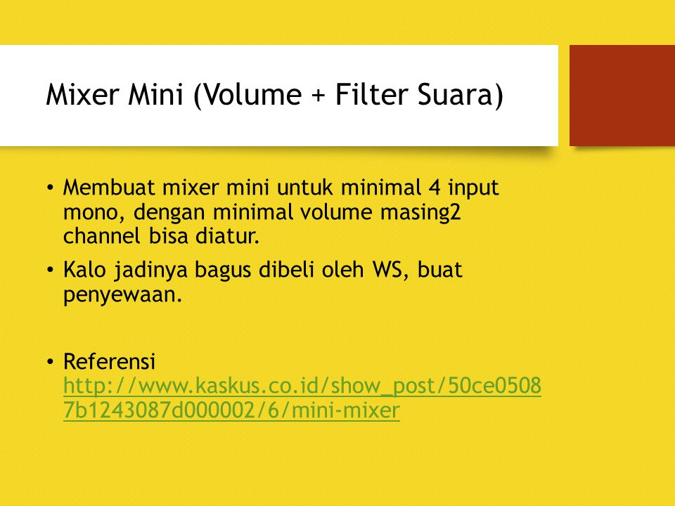 Mixer Mini (Volume + Filter Suara)