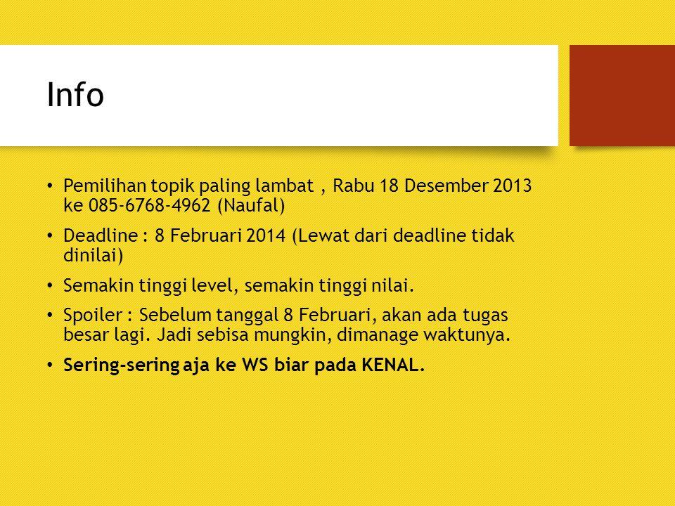 Info Pemilihan topik paling lambat , Rabu 18 Desember 2013 ke 085-6768-4962 (Naufal)