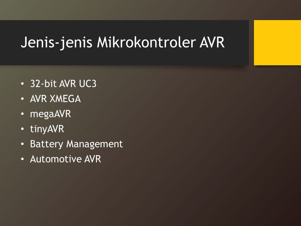 Jenis-jenis Mikrokontroler AVR