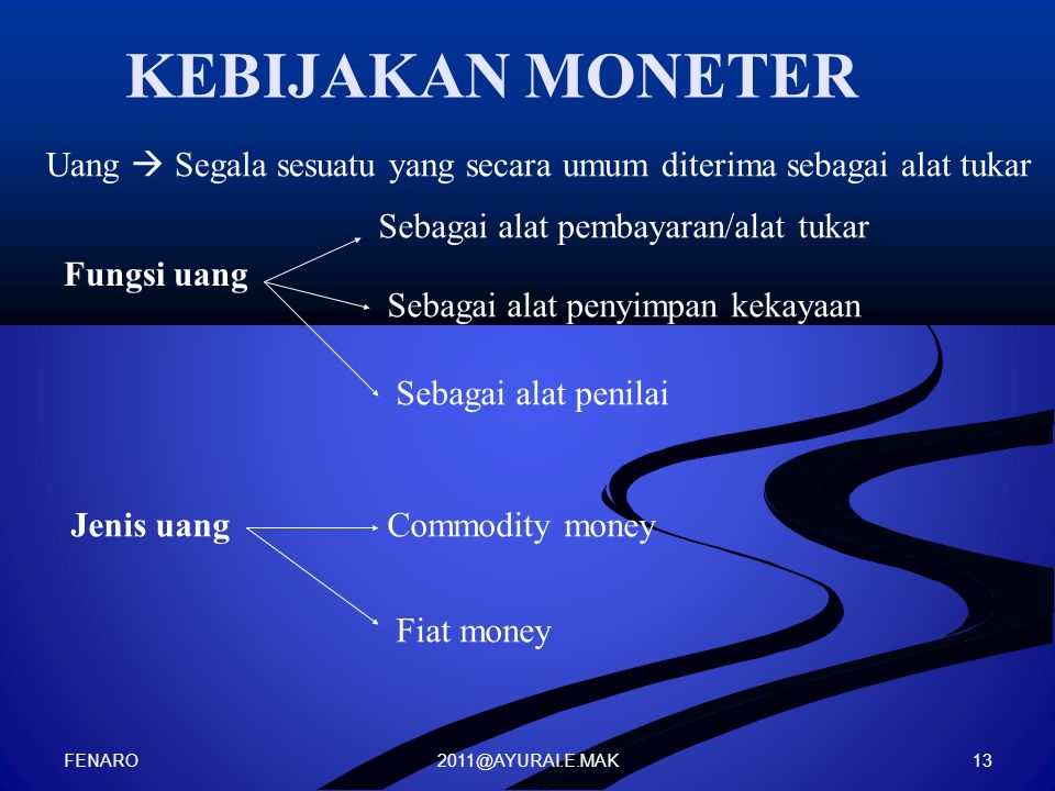 KEBIJAKAN MONETER Uang  Segala sesuatu yang secara umum diterima sebagai alat tukar. Sebagai alat pembayaran/alat tukar.