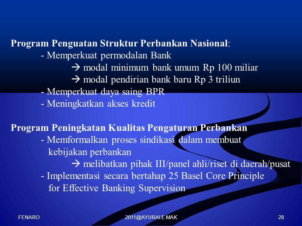 Program Penguatan Struktur Perbankan Nasional: