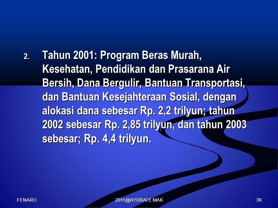 Tahun 2001: Program Beras Murah, Kesehatan, Pendidikan dan Prasarana Air Bersih, Dana Bergulir, Bantuan Transportasi, dan Bantuan Kesejahteraan Sosial, dengan alokasi dana sebesar Rp. 2,2 trilyun; tahun 2002 sebesar Rp. 2,85 trilyun, dan tahun 2003 sebesar; Rp. 4,4 trilyun.