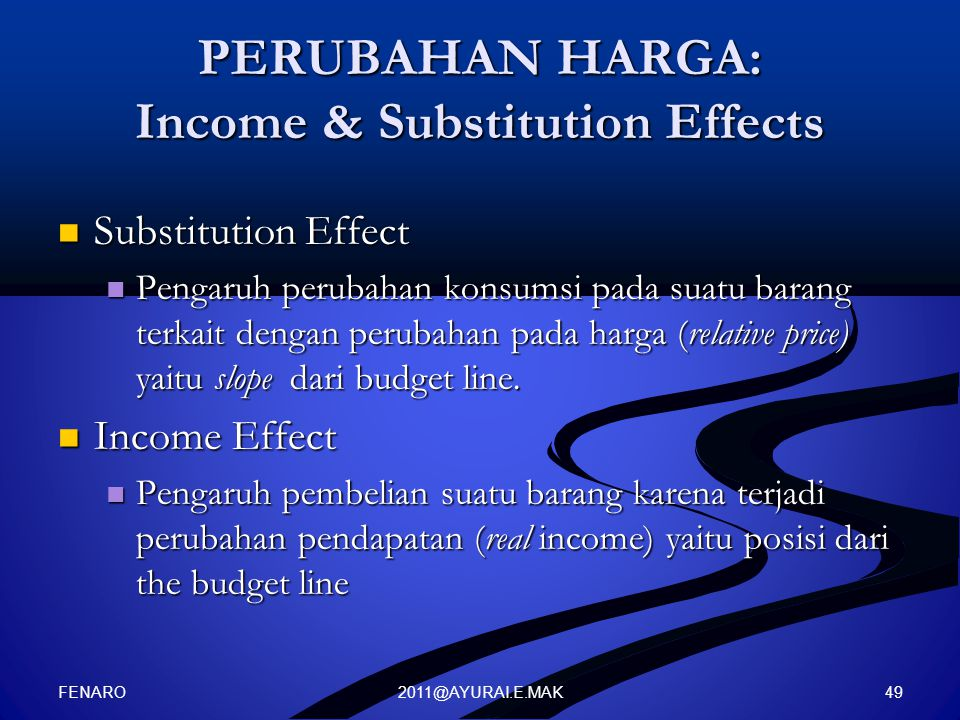 PERUBAHAN HARGA: Income & Substitution Effects