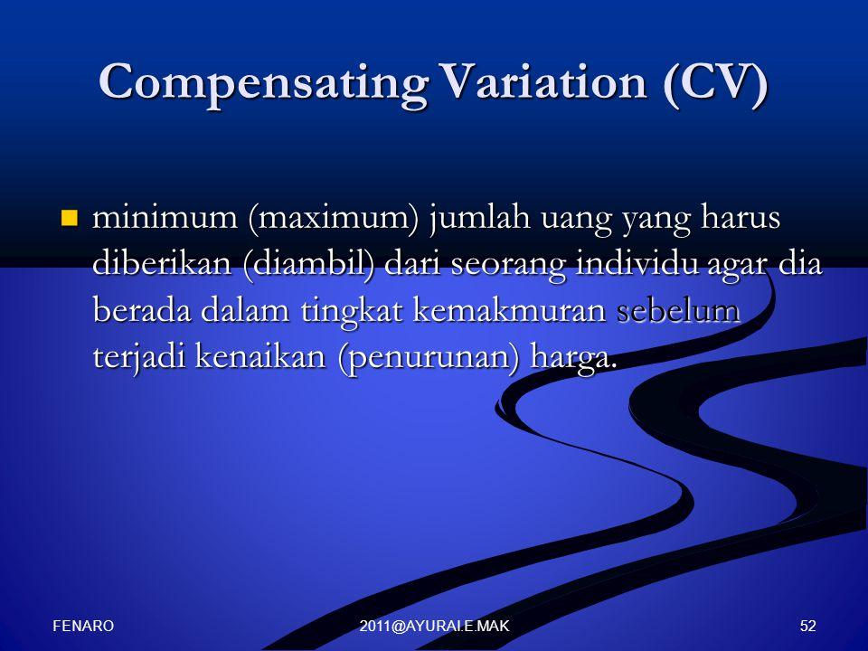 Compensating Variation (CV)