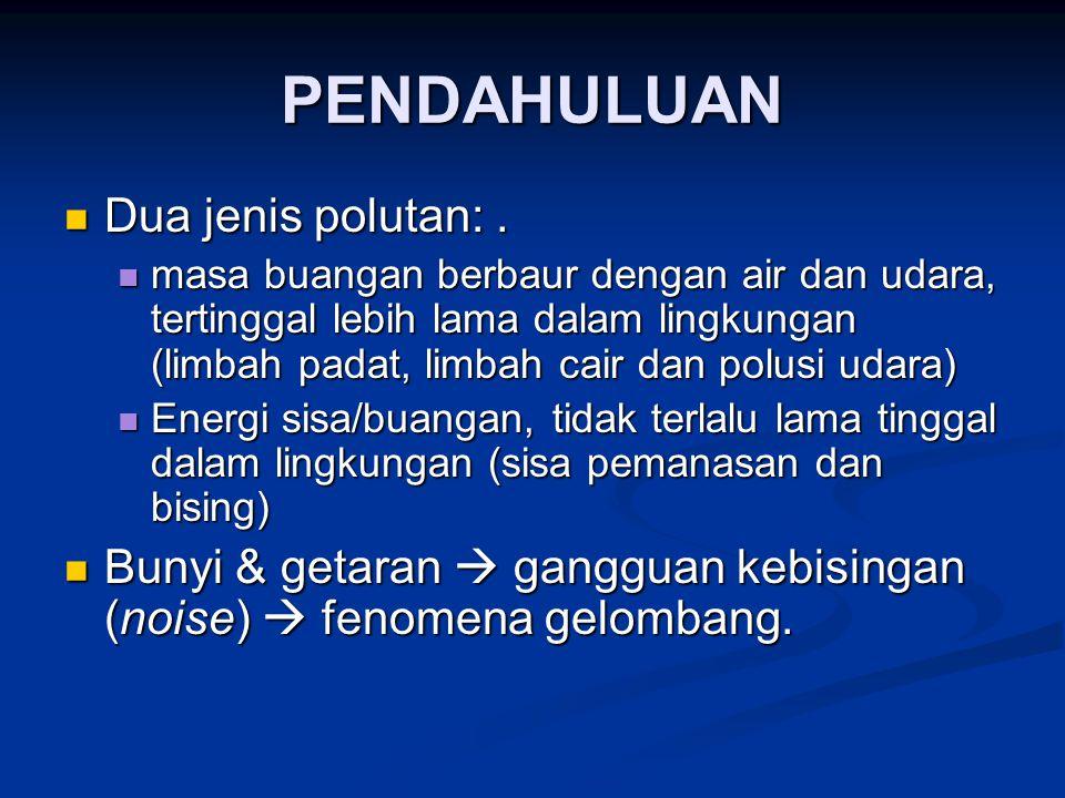 PENDAHULUAN Dua jenis polutan: .